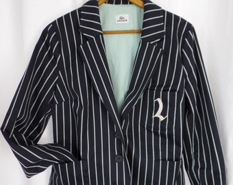 vintage Lacoste navy pin striped stretch collegiate boyfriend style blazer/ mint green lining: size 42/ Medium