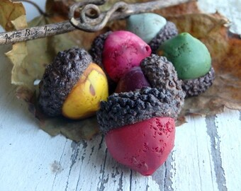 Medium Acorn connector beads- polymer clay acorn- ONE- real acorn caps. Mustard. Plum. Moss. Ruby. Rustic. Jettabugjewelry