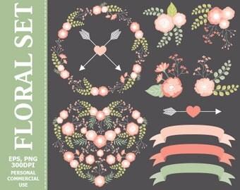 50% OFF SALE Floral Wedding Clip Art - Floral Heart, Flowers, Wreath, Arrow, Ribbons Clip Art