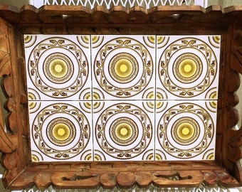 Vintage Mexican Tile Wood Tray, beverage serving tray, carved wood tray, table centerpiece, rustic tray decorative ceramic tiles