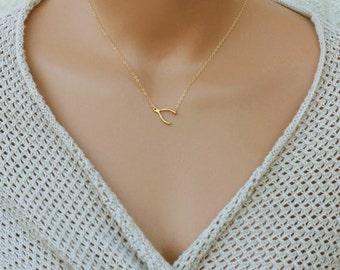Dainty Wishbone Necklace, Lucky Necklace, Everyday Necklace, 14k Gold Fill Necklace, Pendant Necklace, Charm Necklace