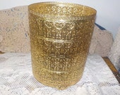 Round Regency Gold Colored Metal Lace Look Waste Basket Cover / Hollywood Regeny / Trash Can /New Listing Not included in discount sales :)S