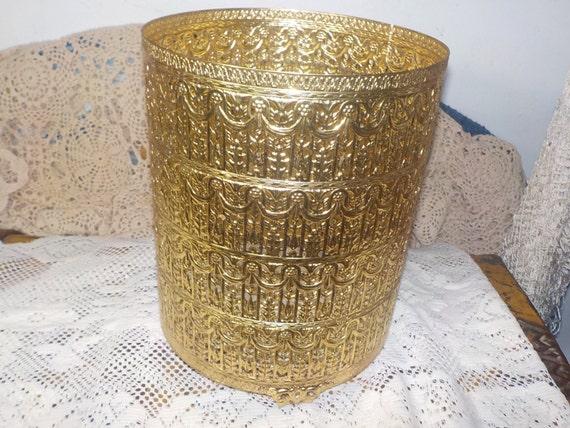 Rd regency gold colored metal lace look waste basket - Rd wastebasket ...