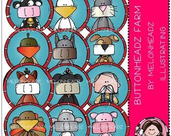 Farm Amimals clip art - Buttonheadz - COMBO PACK