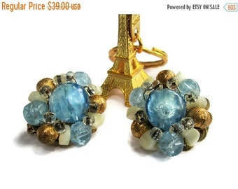 ON SALE Baby Blue Mother of Pearl and Bead Hobe Earrings, Goldtone Clip On, 1950s, Shimmering Paris Nights