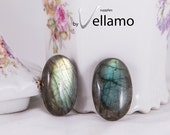 High quality AAA natural flashy labradorite cabochon, lot of 2 oval large natural rainbow flash, untreated undrilled labradorite stones