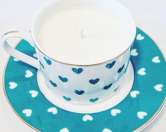 Heart Cup and Saucer Chocolate Mousse Soy Candle