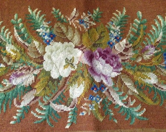 Floral Needlepoint Tapestry, 1800s Tapestry Carpet Bag, Stool Cover, Pillow, Framing Project Textile