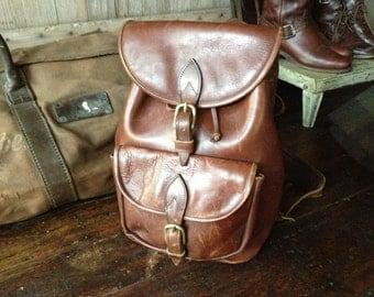 Vintage Backpack Rustic Chestnut Brown Leather Handbag ~ Large