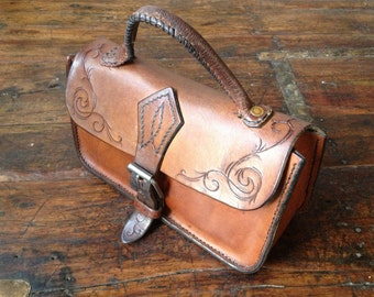 Vintage Handcrafted Tooled Chestnut Brown Leather Mini Briefcase Satchel Handbag