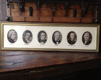Composers Framed Engravings Picture, Classical Music Beethoven Mozart Schubert Wagner Mendelssohn Haydn