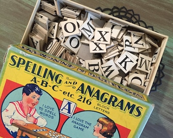 30 Anagrams Black & White / Vintage Anagram Chipboard Letters Great for Journals, smash books, decoupage, etc.