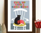 Curl up with a good book, Retro Posters, Mid Century Modern, Vintage style Cat Poster, Cat and book pint, A3 giclée print
