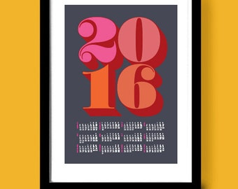 2016 Calendar poster print, Big Numbers, mid century calendar art, dates, typographic wall art, 2016 calendar, Midcentury modern art