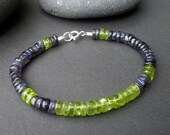 Natural Gemstone Peridot and Iolite Heishi Shape 6mm 925 Sterling Silver Bracelet, Men Bracelet, Unisex Bracelet, Purple and Green Bracelet