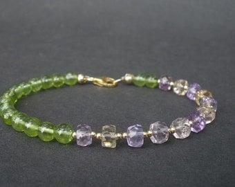 Natural Gemstone Peridot AA Grade 5.5mm Round Bead, Gemstone Ametrine  AA Grade 6mm Faceted Rondelles, 14kt Yellow Gold Filled Bracelet