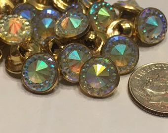 10 metal rhinestone shank buttons, 10 mm (23)