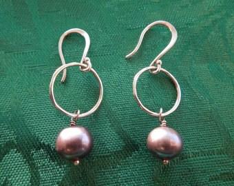 Vintage Silver Earrings.  Black Pearls, Hook Type, Dangle, Stamped 925