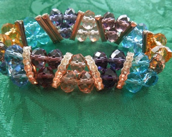 Vintage Crystal Bracelet with Rhinestones,  Multicolor, Flexible,  Excellent Condition