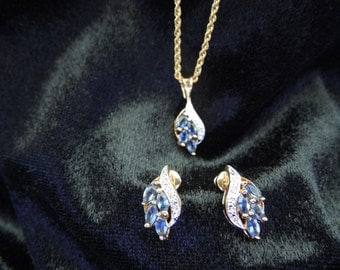 Vintage Necklace and Earrings.  Blue Stones and Clear Stone with Silver and Gold Tone.  Post Style Earrings