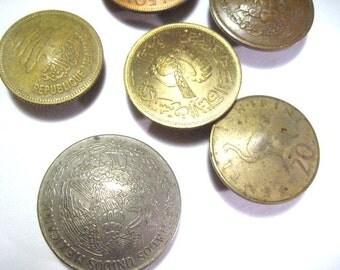 Real Coin button Covers, 6 button covers, 1952 Mexico coin, Tazania 1973, Republique of Libanaise, Seirra Leone,