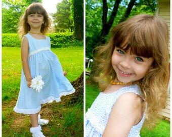 Girl's high waisted Summer Dress Sewing Pattern - The Georgina, girls summer dress, no fastenings dress, pdf sewing pattern, dress, toddler