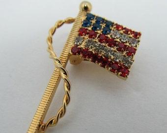 ON SALE 1960s-70s Rhinestone American Flag Pin Item K # 1367