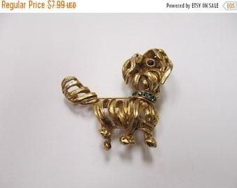 ON SALE Vintage Rhinestone Dog  Pin Item K # 79