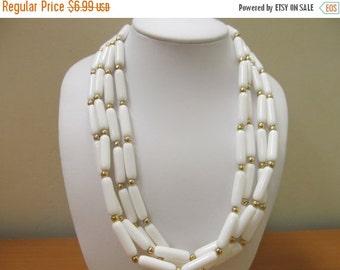 ON SALE Vintage White Plastic Multiple Strand Necklace Item K # 2247