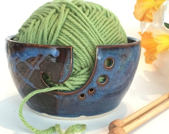 Yarn Bowl, Knitting Bowl With Two tone Brown/ Blue Glaze - Pottery Yarn Bowl - In Stock - Ceramic Yarn Bowl, Ready to Ship