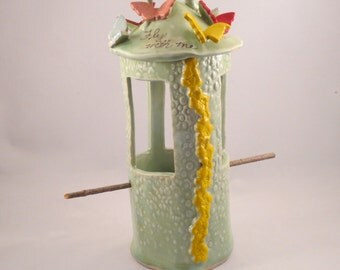 MInt Green Bird Feeder with Butterflies and Flowers Ceramic Stoneware