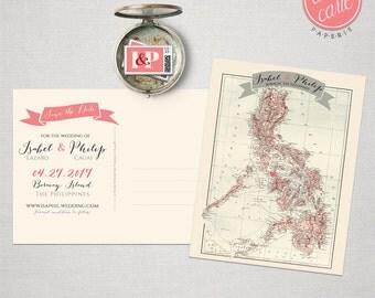 Destination wedding invitation The Philippines Boracay Manila Save the Date Postcard bilingual wedding invitation  Design fee