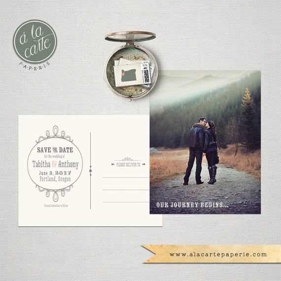 Save the Date Postcard Woodland Mountain Walk Rustic save the date mountain wedding
