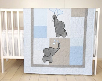 Baby  Boy Quilt,  Elephant Blanket, Blue Gray Crib Bedding, Safari Nursery