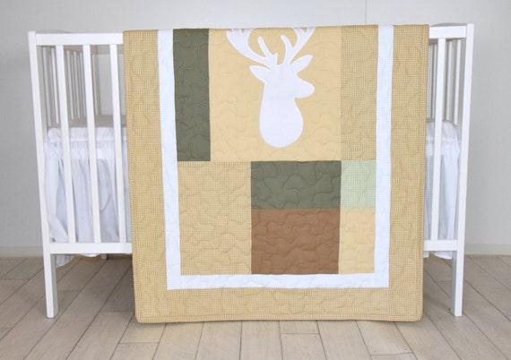 Deer Boy Bedding,  Deer Crib Quilt,  Antler Baby Blanket, Deer  Head  Blanket,  Green, Brown, Cream