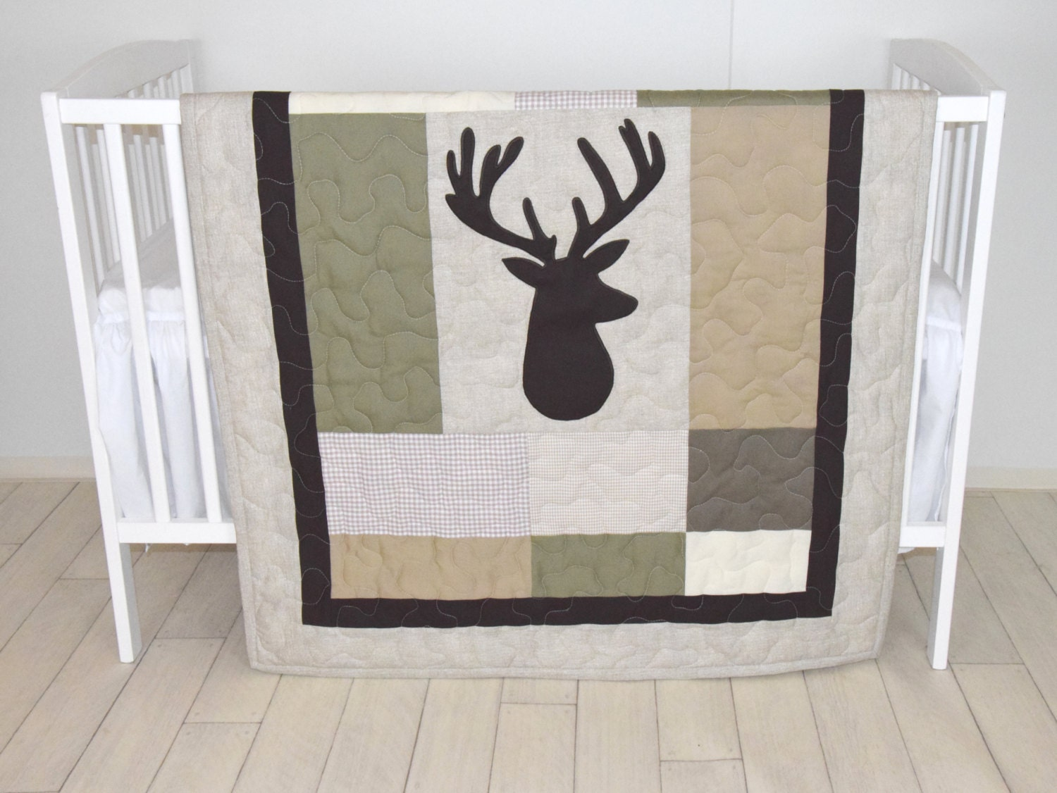 Deer Boy Bedding Deer Crib Quilt Antler Baby Blanket Deer