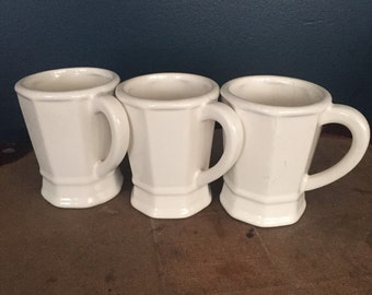 Vintage White Restaurant Ware Coffee Mugs- Diner Mugs- Set of 3
