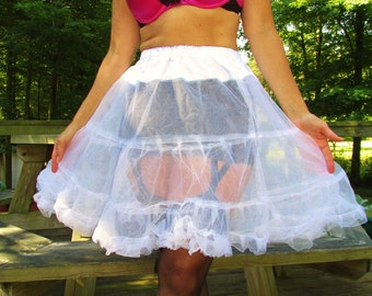 Hand made white soft sheer frilly petticoat in mint condition size medium