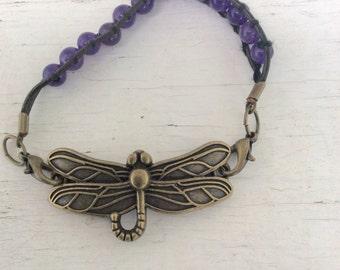 Purple Dragonfly Bracelet/Boho/Hippie