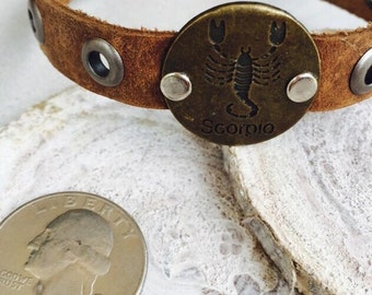 Scorpio Bracelet, Leather Stamped Bracelet