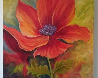 Poppy 16 x 16 inch deep box Canvas Oil Painting