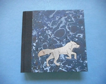 "Handmade blank book with hand-marbled covers and stainless steel art: ""Silver Fox"". Journal, Diary. Travel Notes. Writing. Sketching"
