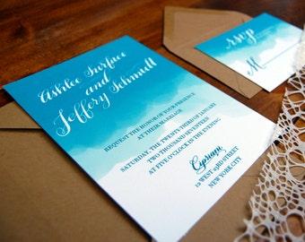 Watercolor Dip Invitation w/ custom calligraphy