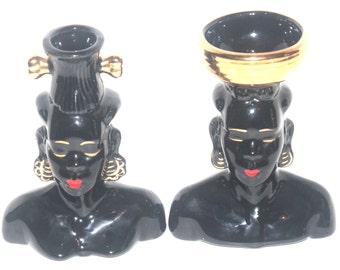 Mid Century Blackamoor Figure Set, Man and Woman, Vase,  Antique Alchemy