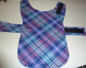 """Extra Small Winter Pink and Blue Plaid Fleece Dog Coat  (16"""" Long)"""