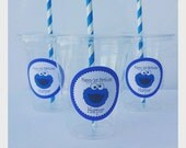 24 - Cookie Monster Party Cups, Personalized with Lids and Straws, Cookie Monster Tableware