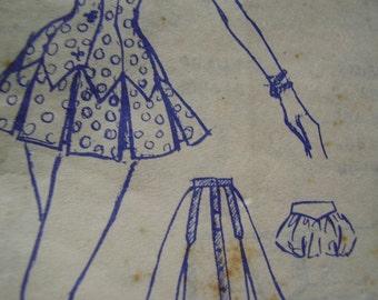 Vintage 1950's Modes Royale D-252 Playsuit Sewing Pattern, Size 12, Bust 30