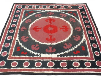 Suzani Vintage Suzani Old Embroidery Suzani Wall Hanging Uzbek Suzani Table Cover Ethnic Suzani 4.89' x 4.99' FAST with ups - 08966