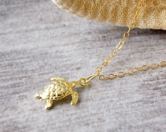 Gold Baby Sea Turtle necklace. Gold filled, Vermeil, Beach jewelry, wedding, bridesmaids