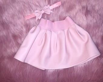 pink skirt set